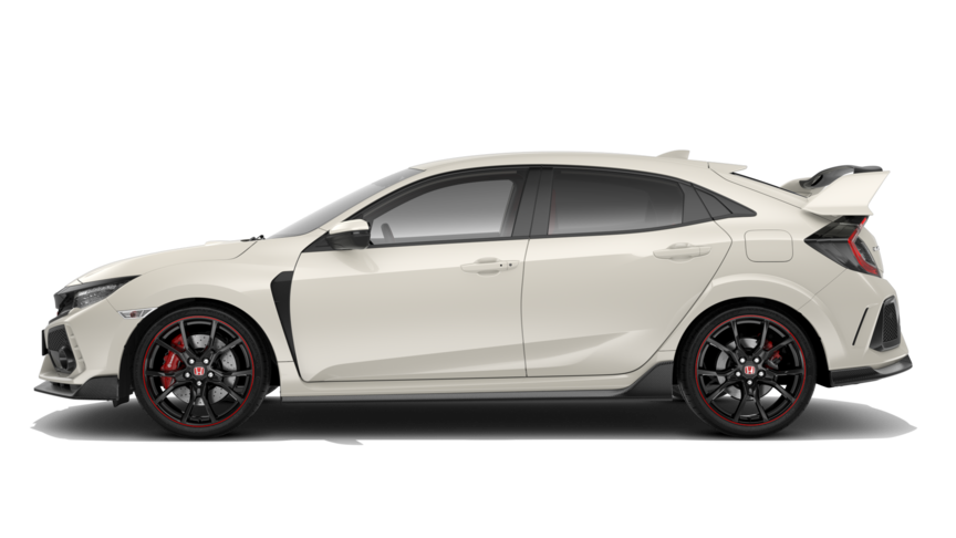 Zijaanzicht Honda Civic Type R in Championship White.