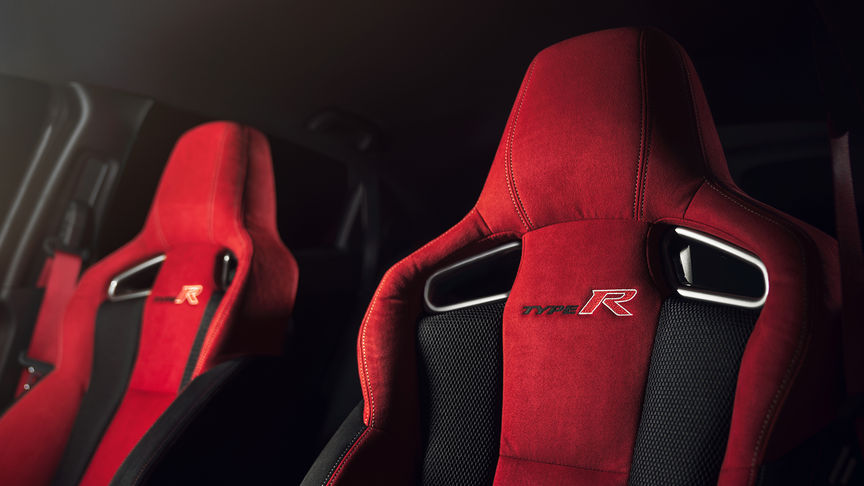 Close-up sportstoelen Honda Civic Type R.