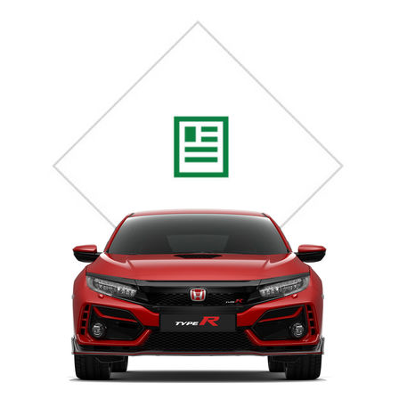 Vooraanzicht Honda Civic Type R met illustratie brochure.
