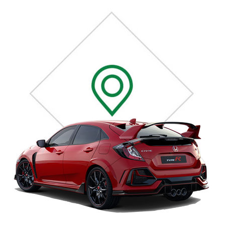 Driekwart achteraanzicht Honda Civic Type R met illustratie dealer.