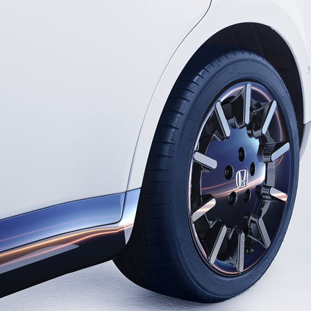 Close-up van Honda e-wiel.