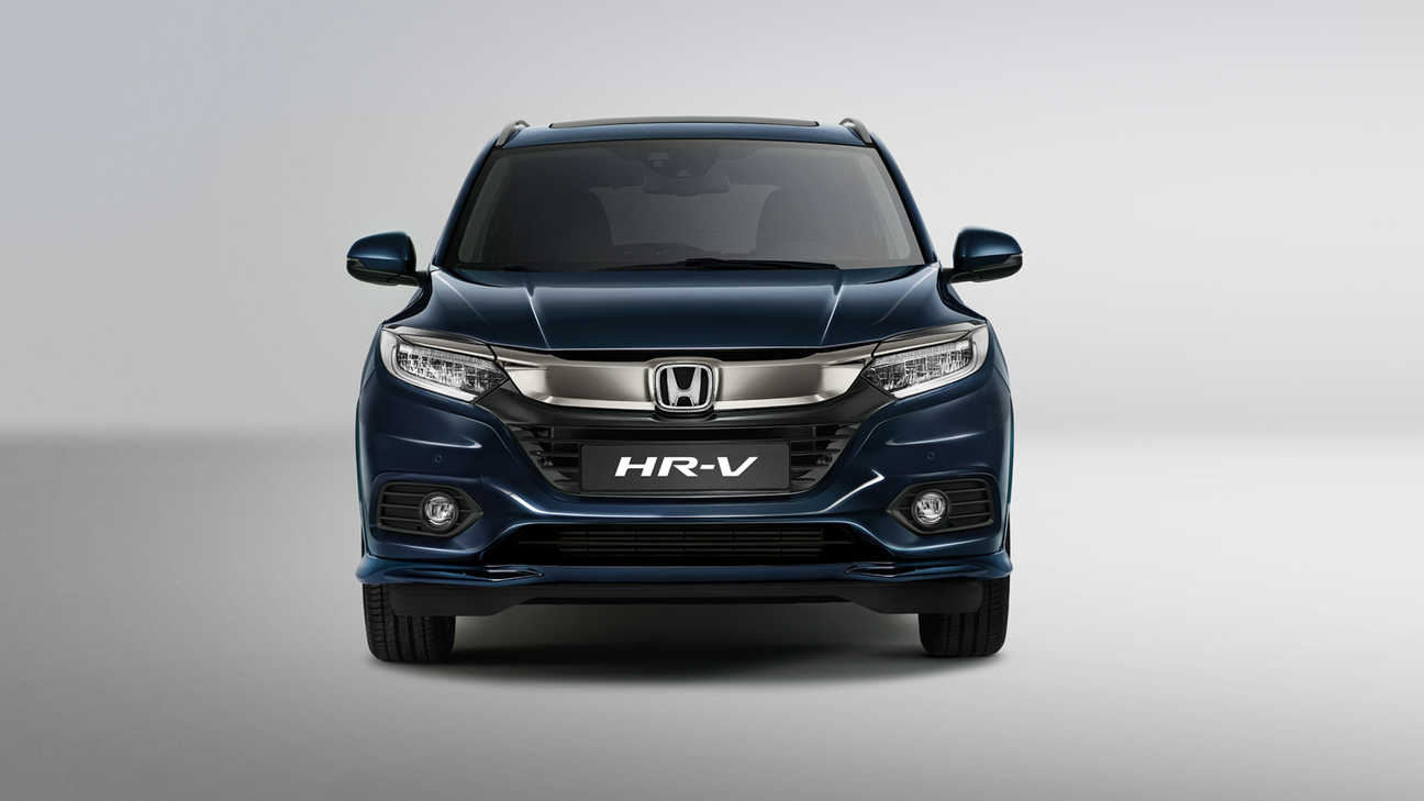 Close-up voorkant Honda HR-V met luchtroosters en bumper.