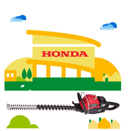 Honda cordless hedge trimmer with dealer illustration.