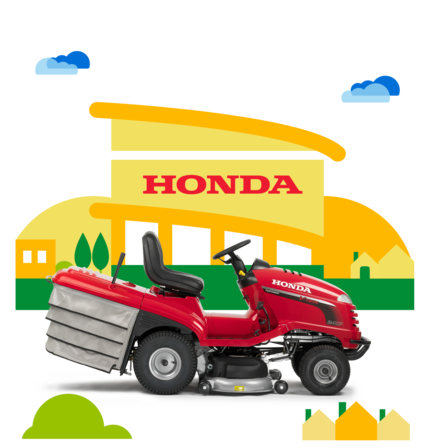 Side on right facing ride-on mower with dealer illustration.