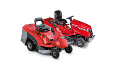 2x Honda Ride-on lawnmowers, front three quarter, right facing.