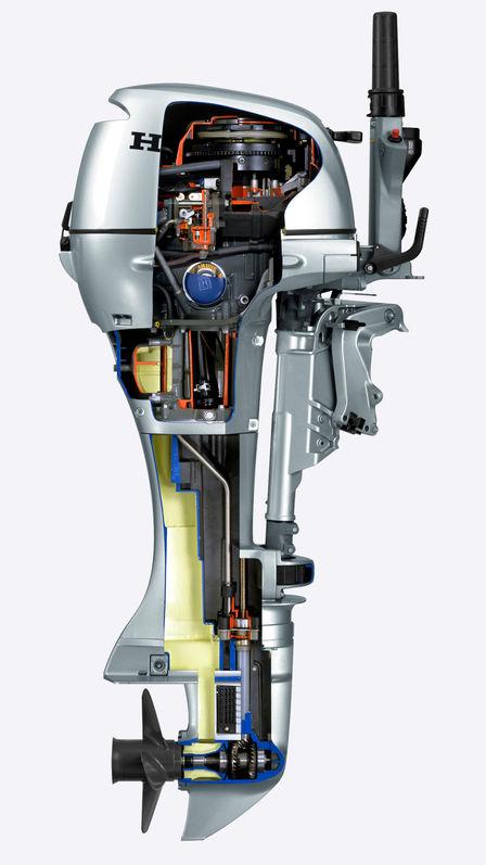 Close-up die de binnenkant van de motor laat zien.