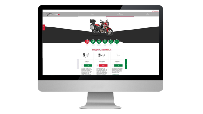 Screenschot uit de Africa Twin-configurator.