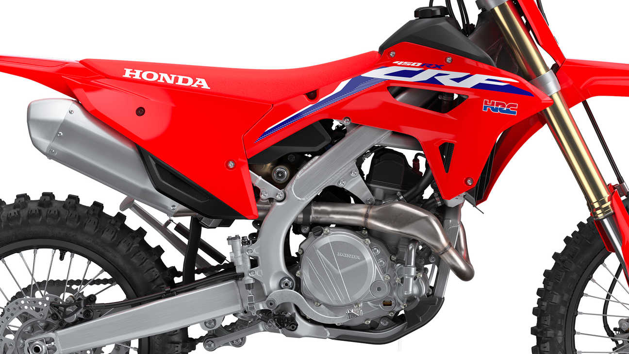 CRF450RX, studio shot, focus right side on the sharp chassis balance.