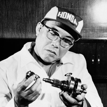 Close-up van Soichiro Honda.