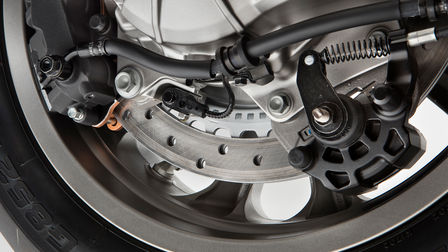 Close up van Dual-Combined Braking System Honda Gold Wing.