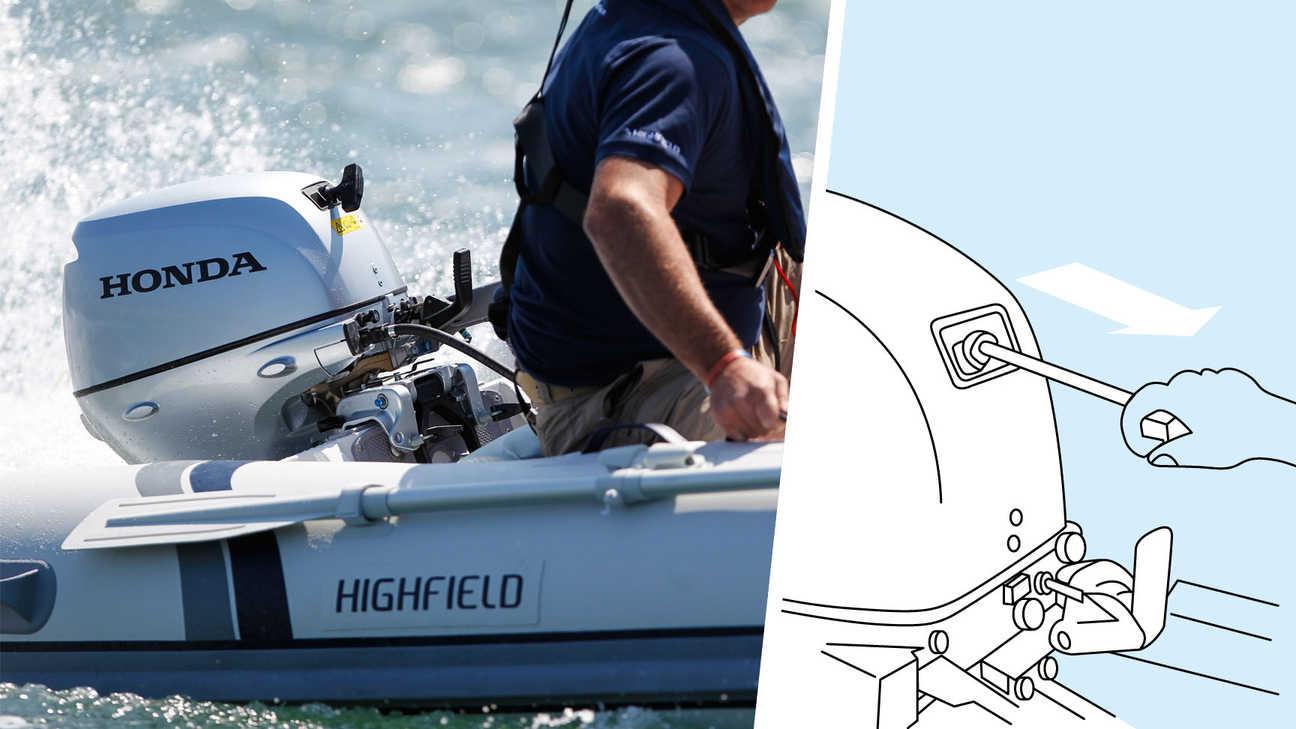 Links: Boot met BF10 motor, in gebruik door model, kustlocatie. Rechts: Illustratie van decompressiesysteem.